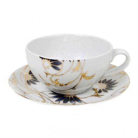 Tasse à thé 180 ml avec soucoupe Pétale Bleuté en porcelaine, service à café, porcelaine, art de la table
