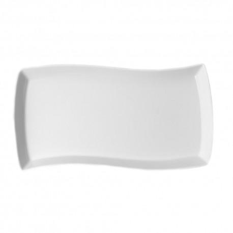 Plat rectangulaire ondulé 32 cm Traversée Galactique en porcelaine