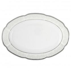 Plat ovale à aile 33 cm Fleur d'olivier en porcelaine
