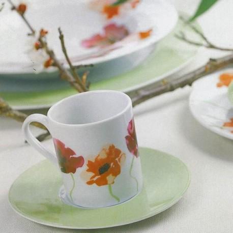 Service de table 30 pcs en porcelaine fine blanche décorée Au Pays des Coquelicots