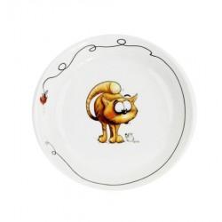 Assiette creuse 19 cm Oeillet en porcelaine motif chat