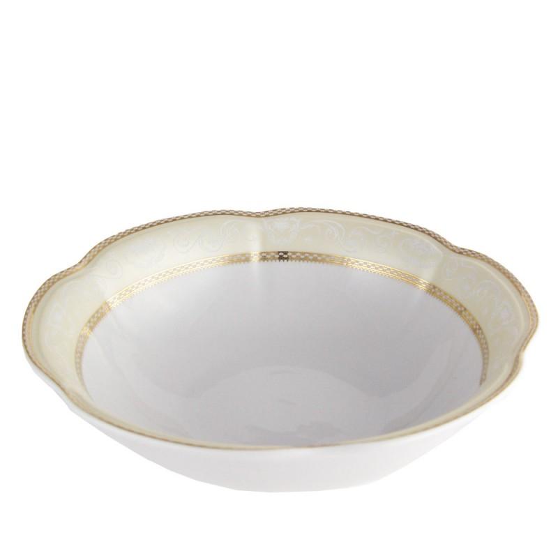 Saladier tasse et assiette en porcelaine blanche d cor e 26 cm - Art de la table vaisselle ...