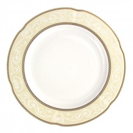 Plat 32 cm rond en porcelaine - Impression Chatoyante