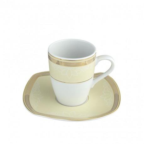 Tasse 100 ml avec soucoupe Elegance en porcelaine, service à café en porcelaine, art de la table