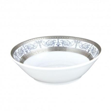 service de table en porcelaine blanche, vaisselle galon platine, coupelle