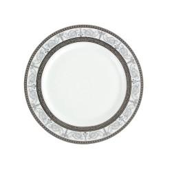 service de table en porcelaine blanche, vaisselle galon platine, assiette dessert
