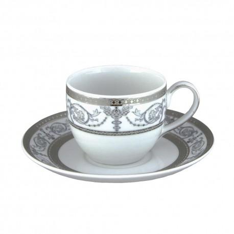 service de table en porcelaine blanche, vaisselle galon platine, tasse à café