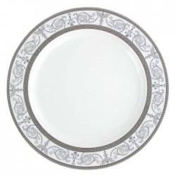 art de la table, service de table complet en porcelaine, vaisselle galon platine, plat de service rond, assiette de présentation