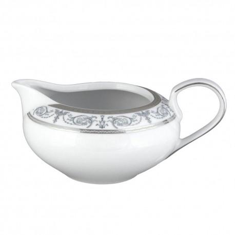 art de la table, service de table complet en porcelaine blanche, vaisselle galon platine, saucière