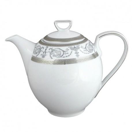 art de la table, service de table complet en porcelaine blanche, vaisselle galon platine, Cafetière