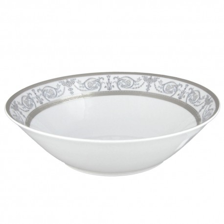 art de la table, service de table complet en porcelaine blanche, vaisselle galon platine, saladier rond