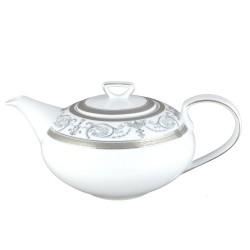 art de la table, service de table complet en porcelaine blanche, vaisselle galon platine, théière