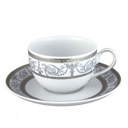 art de la table, service de table complet en porcelaine blanche, vaisselle galon platine, tasse à thé