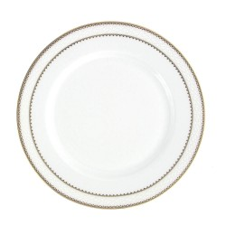 art de la table, service de table complet en porcelaine blanche, vaisselle galon or, assiette dessert