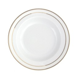 art de la table, service de table complet en porcelaine blanche, vaisselle galon or, assiette creuse à aile