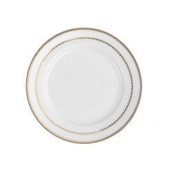 art de la table, service de table complet en porcelaine blanche, vaisselle galon or, assiette à pain