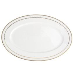 art de la table, service de table complet en porcelaine blanche, vaisselle galon or, plat ovale