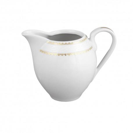 art de la table, service de table complet en porcelaine blanche, vaisselle galon or, crémier