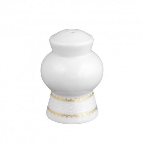 art de la table, service de table complet en porcelaine blanche, vaisselle galon platine, poivrier