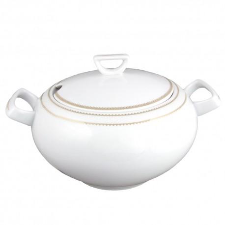 art de la table, service de table complet en porcelaine blanche, vaisselle galon or, soupière en porcelaine
