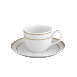 art de la table, service de table complet en porcelaine blanche, vaisselle galon or, tasse à café en porcelaine