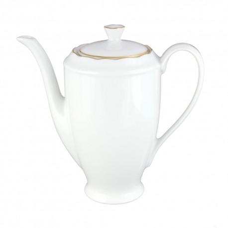 art de la table, service de table complet en porcelaine blanche, vaisselle galon or, cafetière en porcelaine