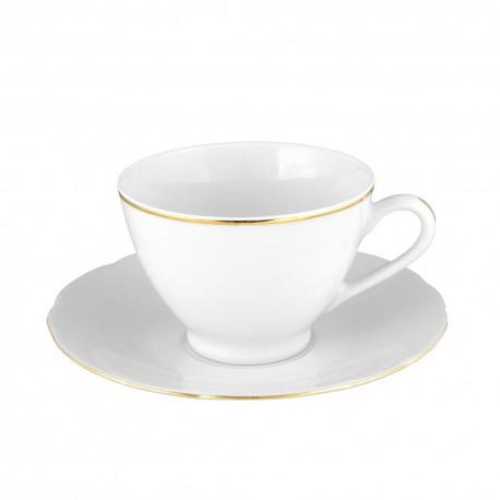 art de la table, service de table complet en porcelaine blanche, vaisselle galon or, tasse à thé en porcelaine