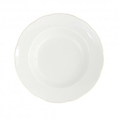 art de la table, service de table complet en porcelaine blanche, vaisselle galon or, assiette creuse à aile en porcelaine