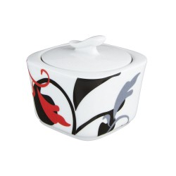 art de la table, service de table complet en porcelaine blanche, vaisselle décorée, sucrier carré en porcelaine