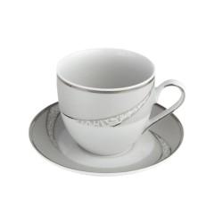 Tasse à café 170 ml avec soucoupe Cristal Eternel en porcelaine