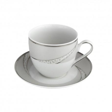 art de la table, service de table complet en porcelaine blanche, vaisselle galon platine, tasse à café en porcelaine