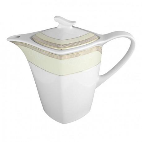 art de la table, service de table complet en porcelaine blanche, vaisselle galon or, théière en porcelaine