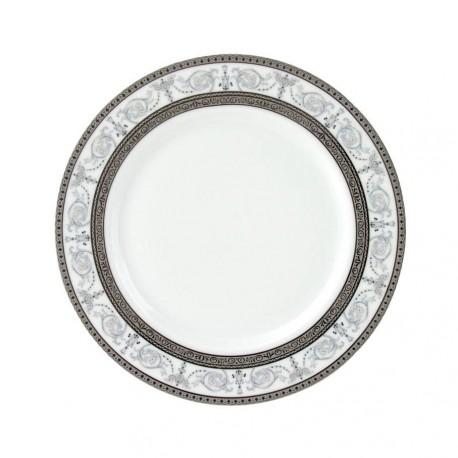 service de table en porcelaine blanche, vaisselle galon platine, assiette plate ronde à pain