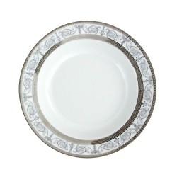service de table en porcelaine blanche, vaisselle galon platine, assiette creuse
