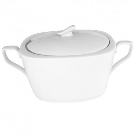 service de table complet, vaisselle en porcelaine blanche, soupière moderne