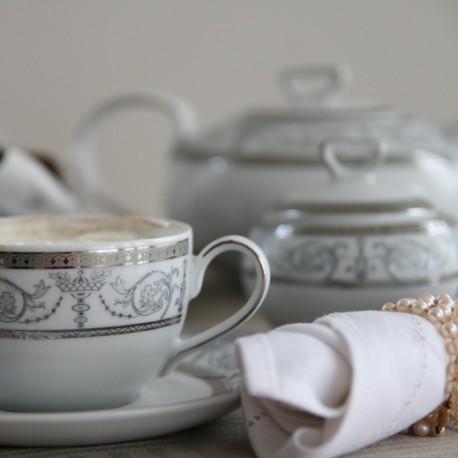 Service à thé, décoration galon de platine, vaisselle en porcelaine, tasses, théière, sucrier