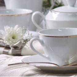 Service à thé, décoration galon d'or, vaisselle en porcelaine véritable, tasses, théière, sucrier
