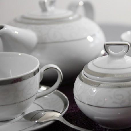 service de table complet, vaisselle en porcelaine blanche galon platine, service à thé, art de la table