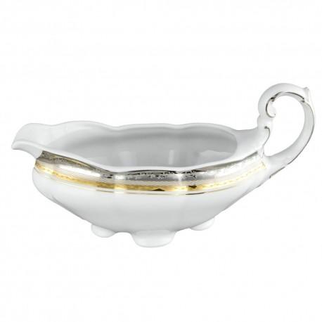saucière, service de table complet, vaisselle en porcelaine blanche galon or, galon platine, art de la table, style ancien