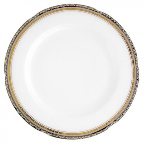 plat rond, service de table complet, vaisselle en porcelaine blanche galon or, galon platine, art de la table, style ancien