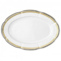 plat ovale, service de table complet, vaisselle en porcelaine blanche galon or, galon platine, art de la table, style ancien