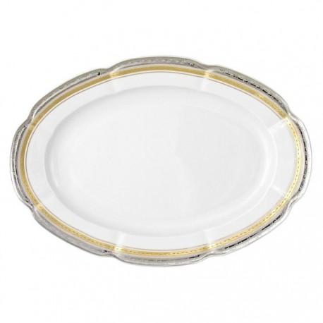 plat ovale, service de table complet, vaisselle en porcelaine blanche galon or, galon platine, art de la table, style ancien