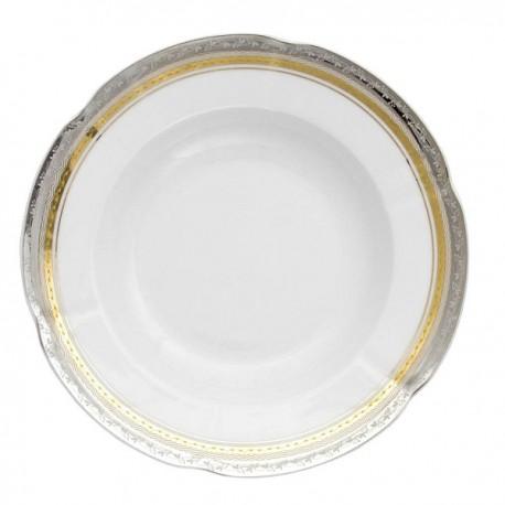 Assiette creuse, service de table complet, vaisselle en porcelaine blanche galon or et platine, art de la table, style ancien
