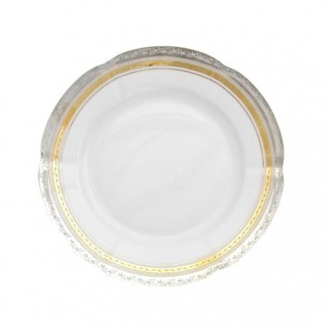 assiette dessert, service de table complet, vaisselle en porcelaine blanche galon or et platine, art de la table, style ancien