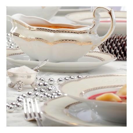 service de table complet, vaisselle en porcelaine blanche galon or, art de la table