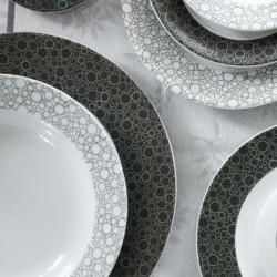 service de table complet en porcelaine blanche, vaisselle couleur noire, art de la table