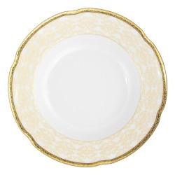 Assiette ronde creuse, service de table en porcelaine blanche décorée avec galon d'or - Soleil Levant
