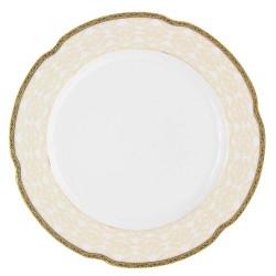 Assiette 27 cm ronde plate, service de table en porcelaine blanche décorée de galons d'or - Soleil Levant