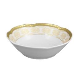 Coupelle 13 cm, service de table en porcelaine blanche décorée de galon d'or - Soleil Levant