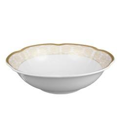 Coupelle 17 cm, service de table en porcelaine blanche décorée de galon d'or - Soleil Levant